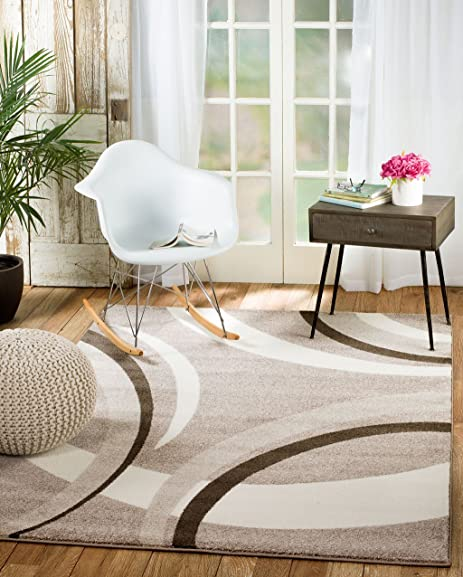 Rio Summit 302 Taupe White Area Rug Modern Abstract Many Sizes Available 5' x 7'.2″