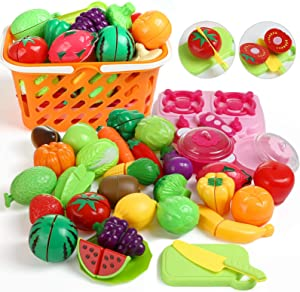 GWHOLE 33 Pieces of Cutting Toys, Pretend Play Food Set with Basket Christmas Stocking Stuffers for Toddler Boys and Girls