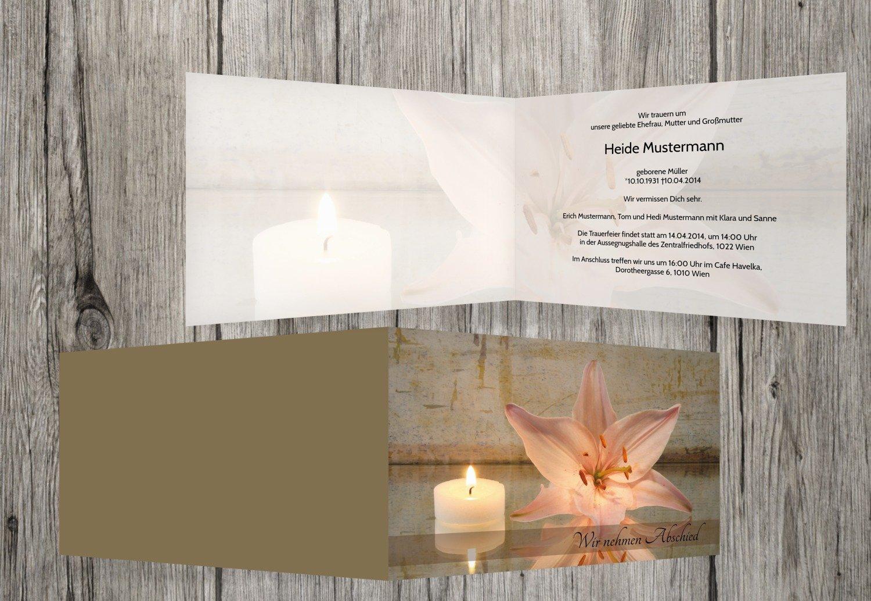 selección larga Tarjeta de luto luto luto Vela y flores, Rosa, 70 Karten  el estilo clásico