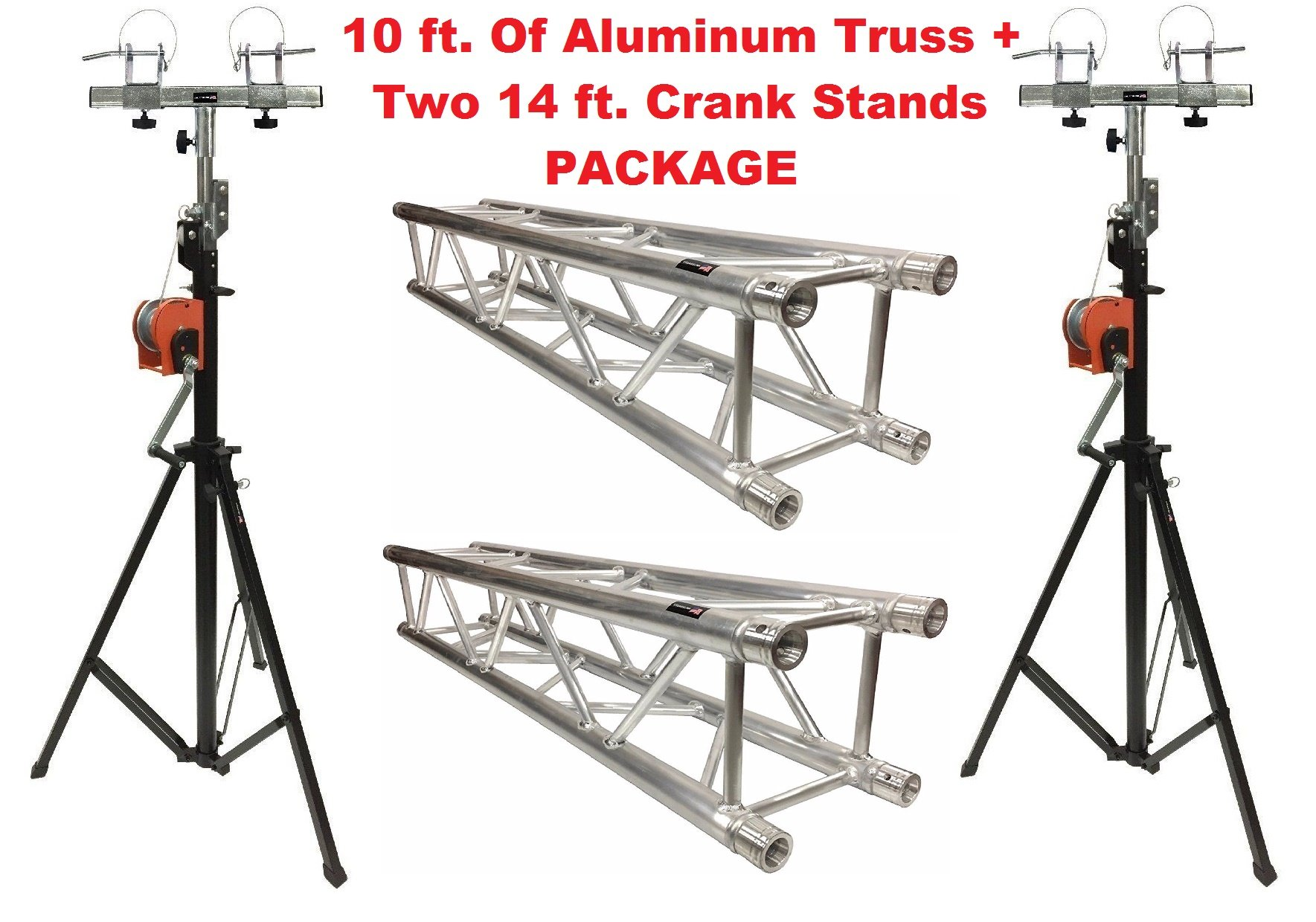 Aluminum Truss Portable 10' Lighting Truss Package + Two 14 ft. Crank Up Stands