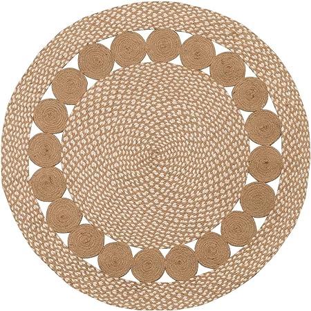 Purity Eco - Alfombra redonda trenzada de algodón natural y yute, Algodón y yute, natural, 90 cm x 90 cm: Amazon.es: Hogar