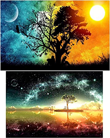 Full Drill Canvas Art Picture for Home Wall Decor(Starry Sky) Diamond Art Kits for Adults,Diamond Painting Kits for Kids
