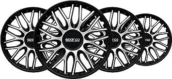 SPARCO SPC1496SVBK Hubcaps Roma Bi-Colour Silver//Black 14 Inches Set of 4,