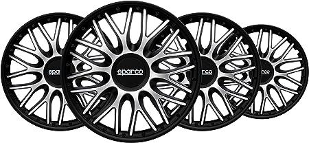 Sparco SPC1680SVBK Set Copricerchi 4 Pezzi Varese 16 Pollici Argento//Nero