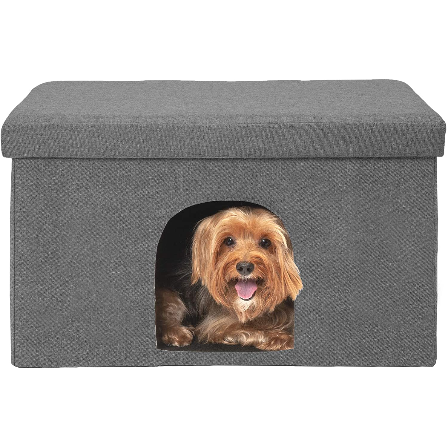 Furhaven Pet Dog Bed Cat Bed House Ottoman Footstool Collapsible Living Room Pet House Condo for Cats Small Dogs, Stormy Gray, Large