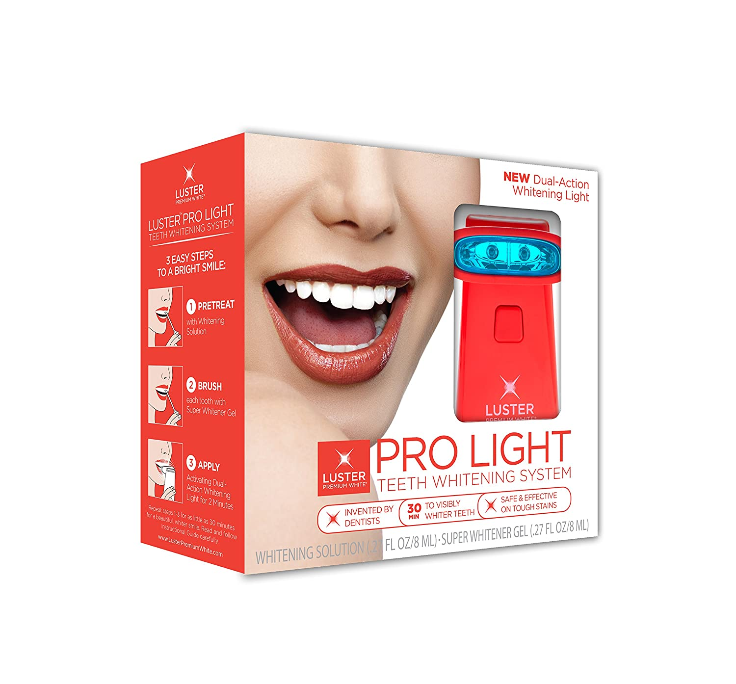 luster pro light teeth whitening system with whitening solution gel