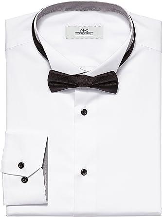 next - Camisa para Hombre con Cuello de Aleta y Pajarita, Corte Ajustado Blanco 44 ES/S: Amazon.es: Ropa y accesorios