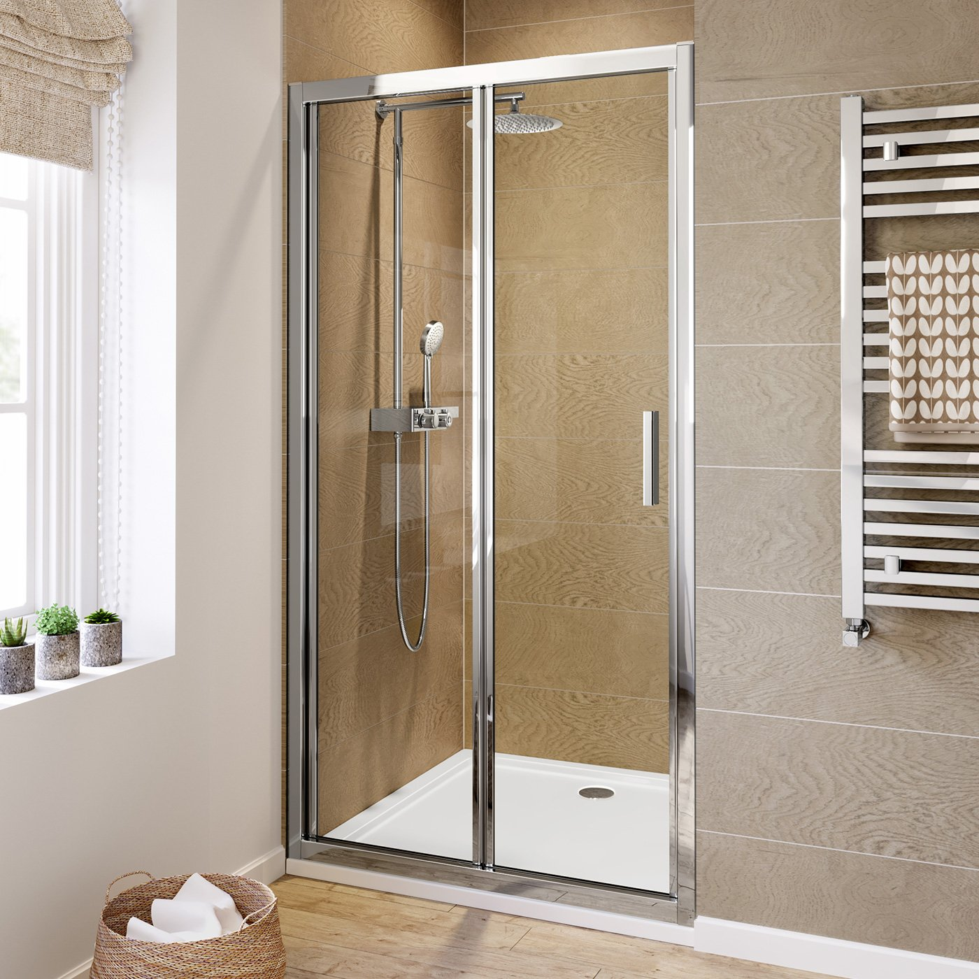 iBathUK 1000mm Bifold Easy Clean 6mm Glass Shower Enclosure Reversible Folding Door
