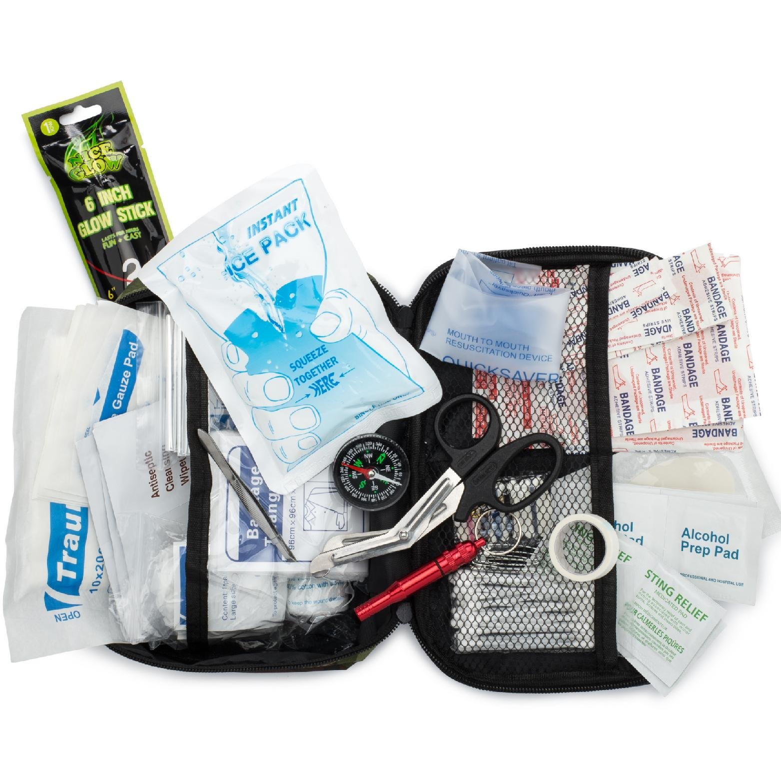 Dragon Ninja Best First Aid Kit 120 Pieces Waterproof FDA Approved Outdoors Camping Hunting Hiking Survival Gear and Emergency at Home Trauma Workplace Travel and Car Includes Free Emergency Blanket