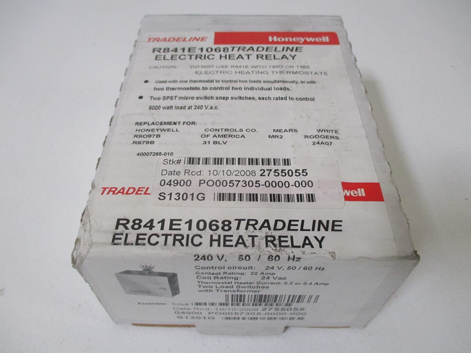 Honeywell Inc R841e1068 Electric Heating Relay 24 Vac Spst Thermostat Heat And Cool 2 Transformers Electronic Relays Industrial Scientific