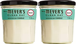 product image for Mrs. Meyer's Clean Day Scented Soy Aromatherapy Candle, 35 Hour Burn Time, Made with Soy Wax, Basil, 7.2 oz- Pack of 2