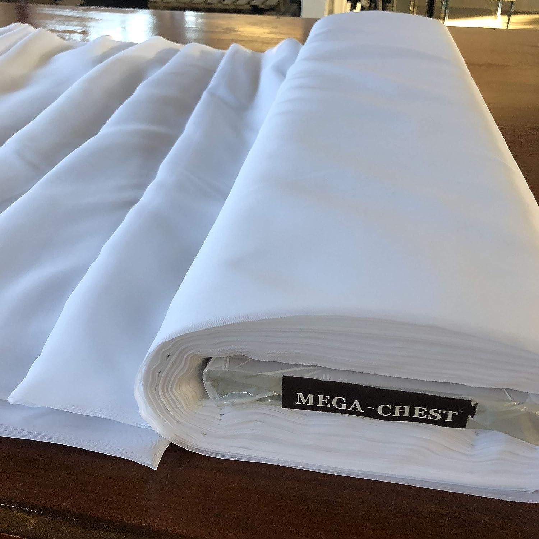 Megachest - Rollo de tela de color blanco liso, ignífugo (50 m ...