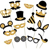 Gold Photo Booth Props - Fully Assembled, No DIY Required - Mix of Hats, Lips, Mustaches, Crowns and More (16 pcs…