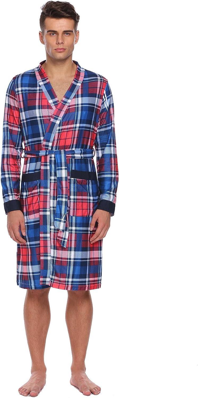 Goldenfox Men Casual V-Neck Long Sleeve Plaid Pocket Soft Robe Comfortable Bathrobe with Belt XS-XL