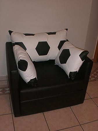 Sessel mit schlaffunktion  Sessel mit Schlaffunktion im Fussball Design weiß schwarz: Amazon ...