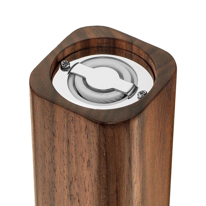 Hudson Essentials Premium Walnut Wood Salt or Pepper Mill w//Ceramic Grinder 1