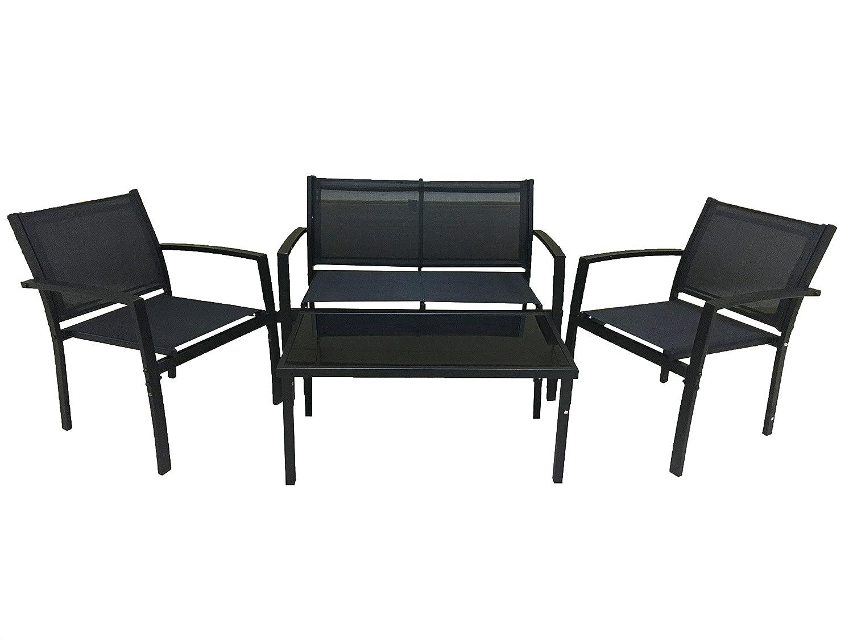 antracite Set da giardino in metallo e texilene 4 pezzi con divano 2 poltrone e tavolino con top vetro temperato