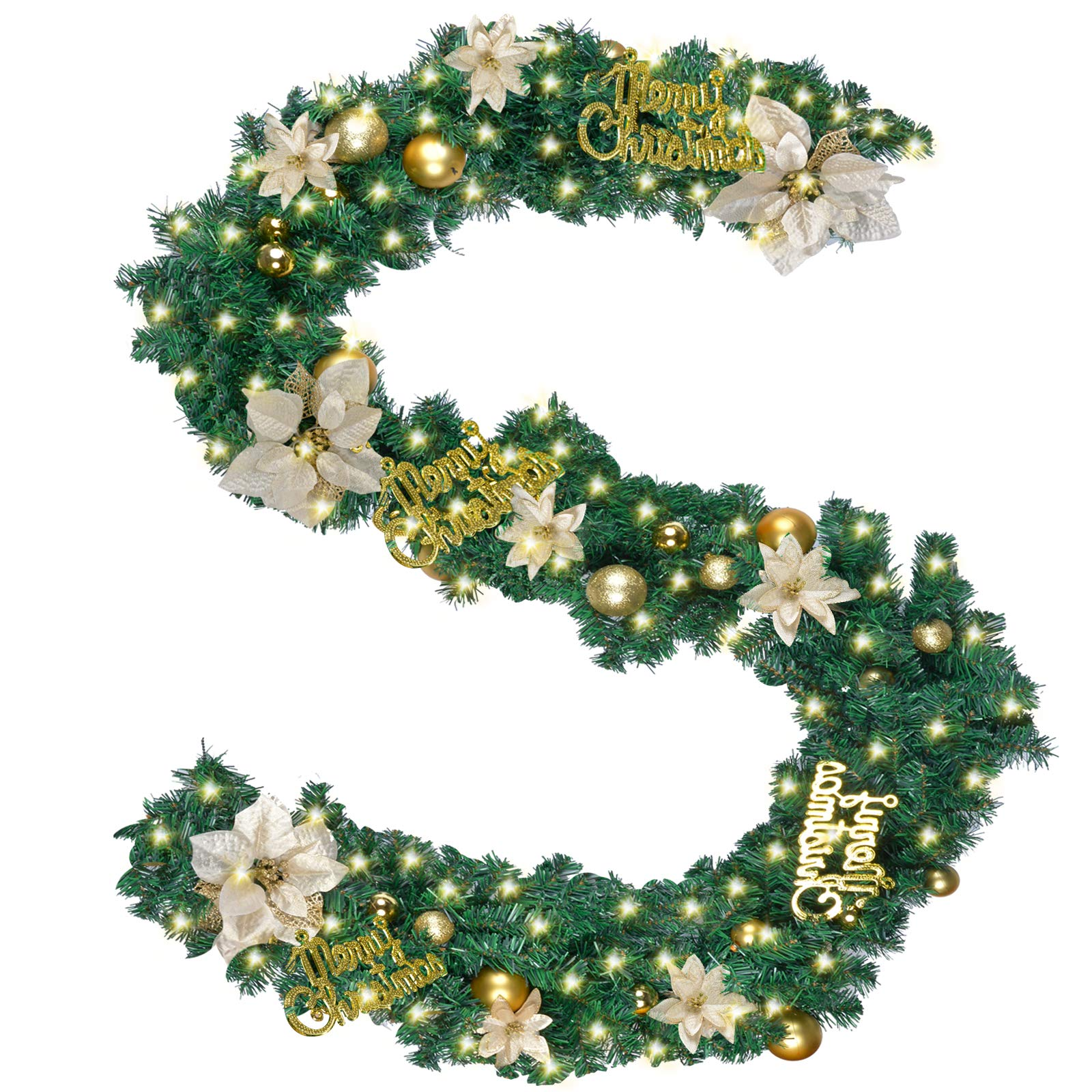 Funpa Guirnalda Navidad, 9 Pies Guirnalda De Pino Artificial Flor De Navidad con Luz para
