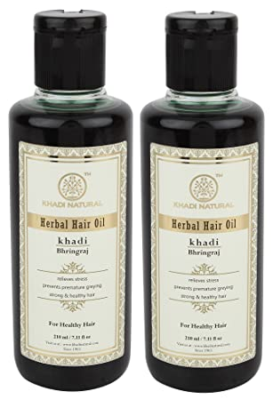 khadi bhringraj pelo aceite, 210 ml para pelo Crecimiento, Negro Pelo Volumen: Amazon.es: Belleza