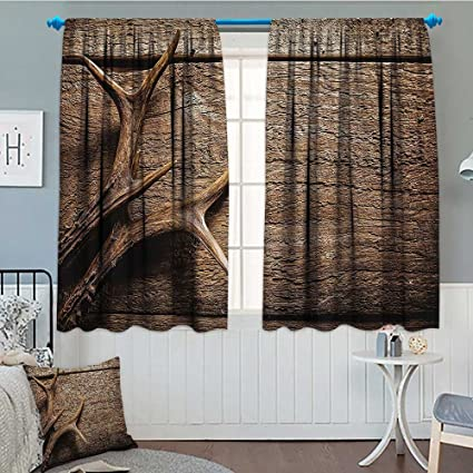 Antlers Room Darkening Wide Curtains Deer Antlers on Wood Table Rustic  Texture Surface Hunting Season Decorating Image Decor Curtains By 84\