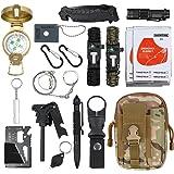 Kamtop 18 en 1 Kit de Supervivencia Bolsa Molle de Supervivencia Bolsa de Herramientas Multifuncional con Manta de Emergencia Equipo de Supervivencia de Emergencia para Viajar Caminar Acampar al Aire