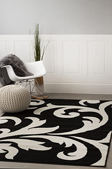 Super Area Rugs, Metro Black Damask Rug 5 Feet By 8 Feet 5x8