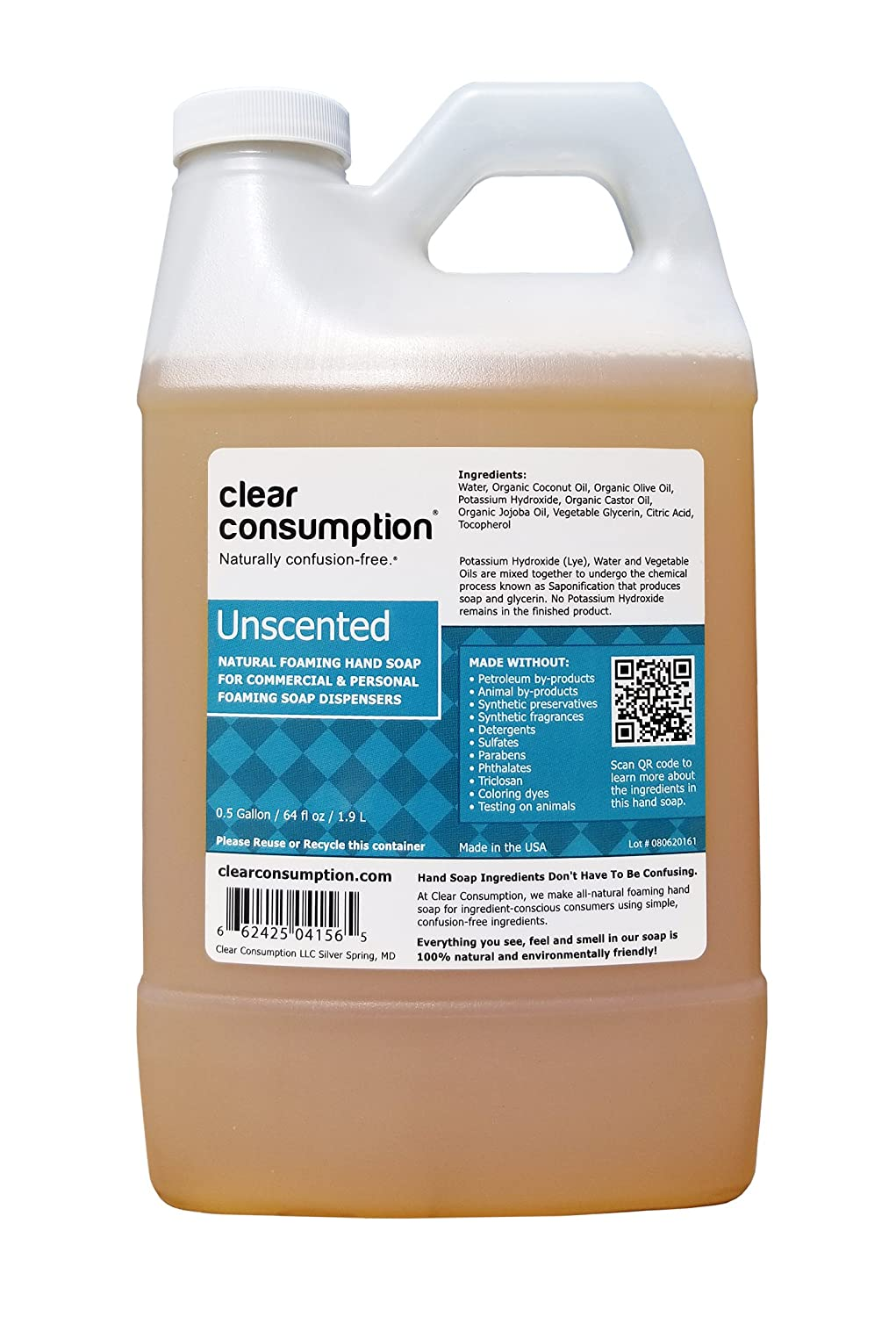 Clear Consumption Natural Unscented Foaming Hand Soap Refill 1/2 Gallon (64 oz) - Made from USDA Organic Vegetable Oils - For Commercial & Personal Foaming Soap Dispensers