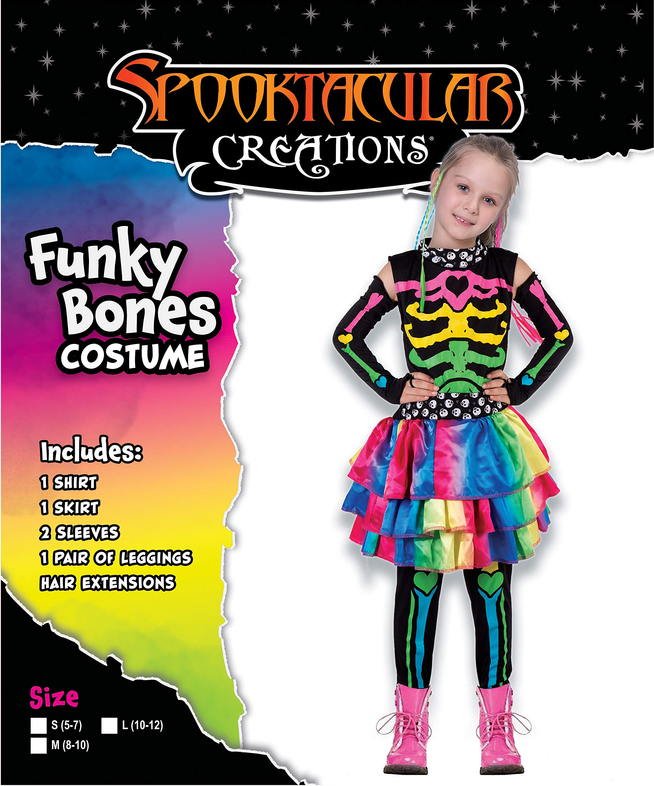 Funky Punky Bones Colorful Skeleton Deluxe Girls Costume Set with Hair Extensions for Halloween Costume Dress Up Parties. 4