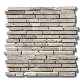 1 Qm ST 1 433 Marmor Naturstein Stab Mosaikfliesen Weiß Beige Design Bad  Fliesen