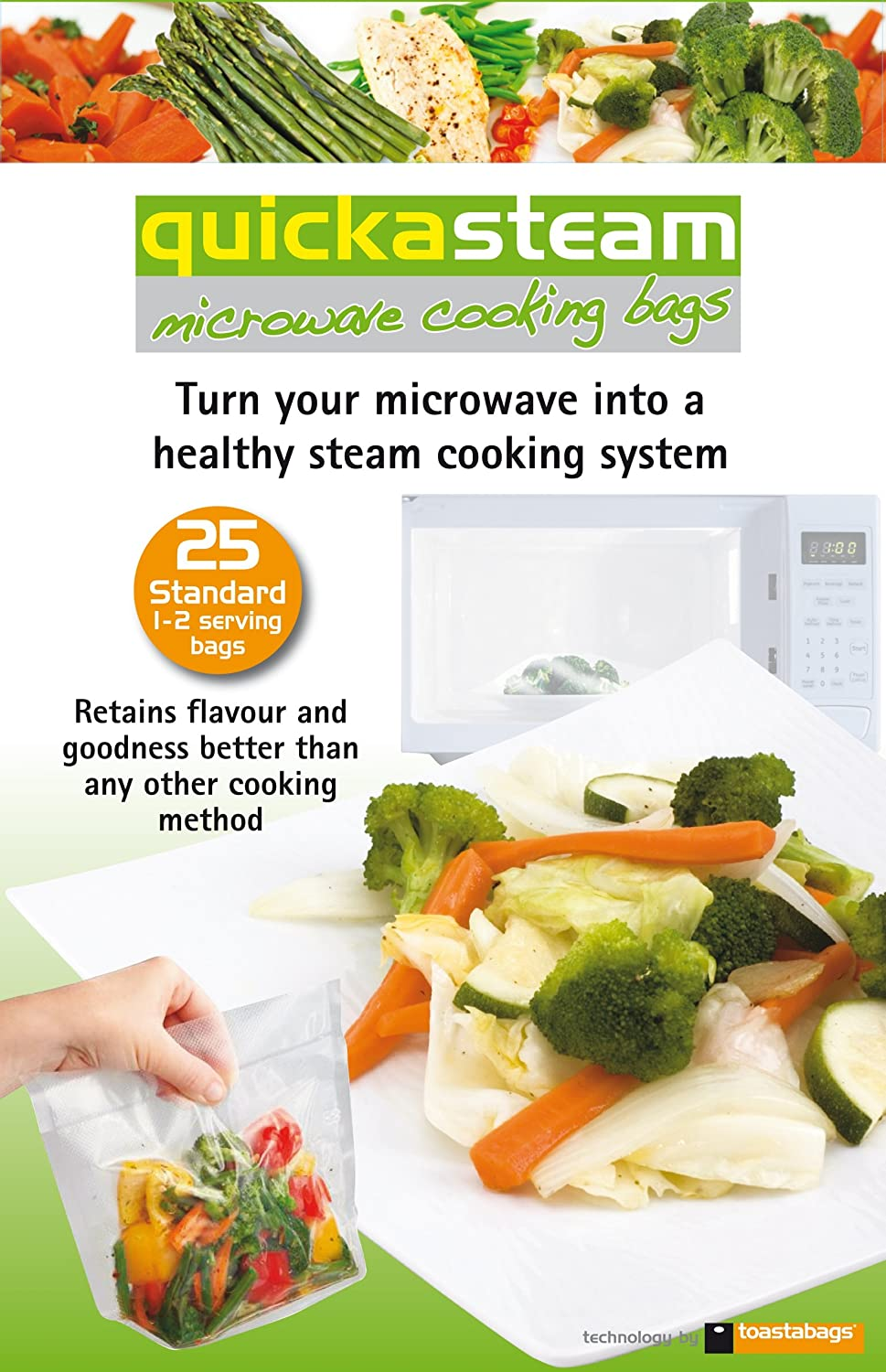 25 x Quickasteam Microwave Steam Bags Healthy Cooking Size Large