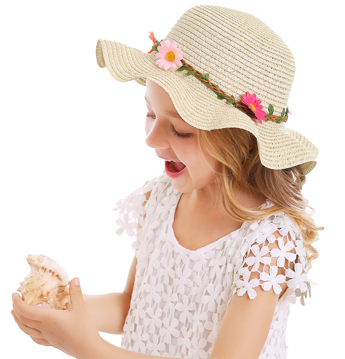 Bienvenu Sun Straw Hat Kids Girls Large Wide Brim Travel Beach Beanie Cap,Beige by Bienvenu (Image #6)