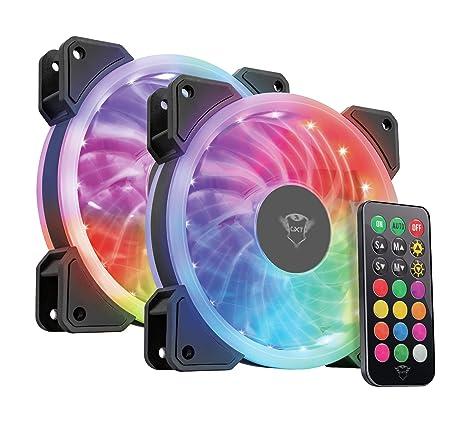 Trust Gaming GXT 770 - Set de 2 Ventiladores de Carcasa para Ordenador (con iluminación RGB) Color Negro