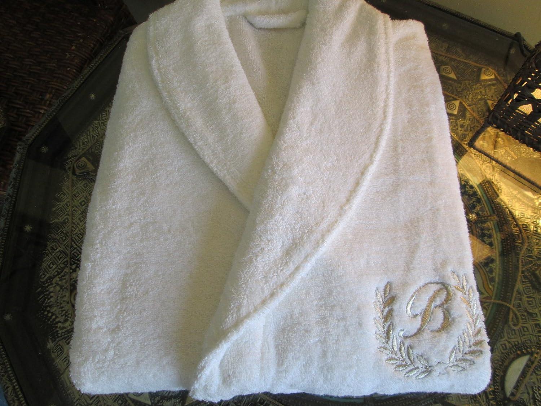 Top Calidad Hotel edición conjunto blanco albornoz, toallas de baño con oro/plata, Silver, Tamaño Bathrobe XL: Amazon.es: Hogar