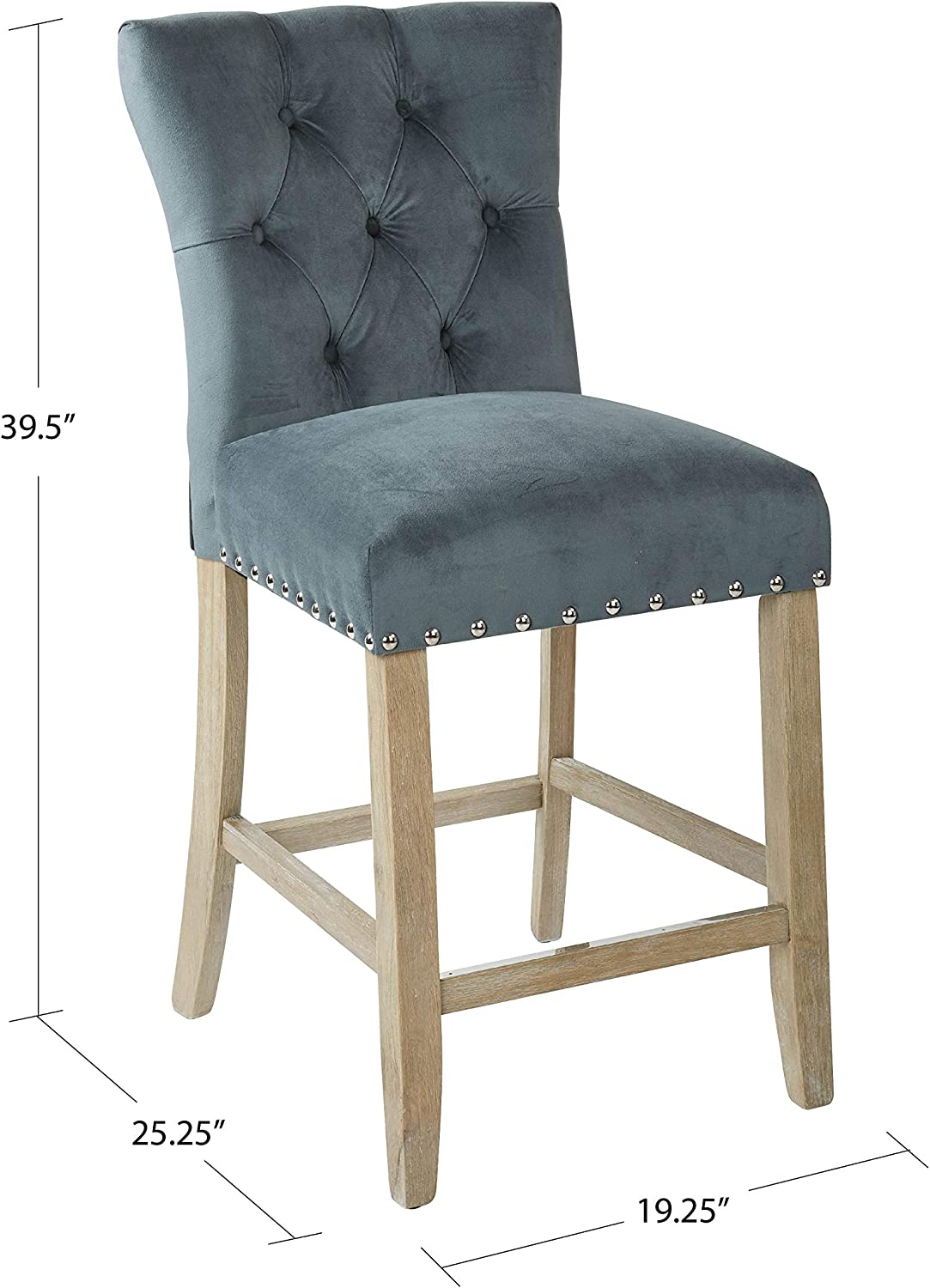 2-Pack Bassett Preston Fabric Seat and Tufted Back 24 Counter Stool with Brushed Rustic Wood Legs and Nailhead Accents Marlow Charcoal