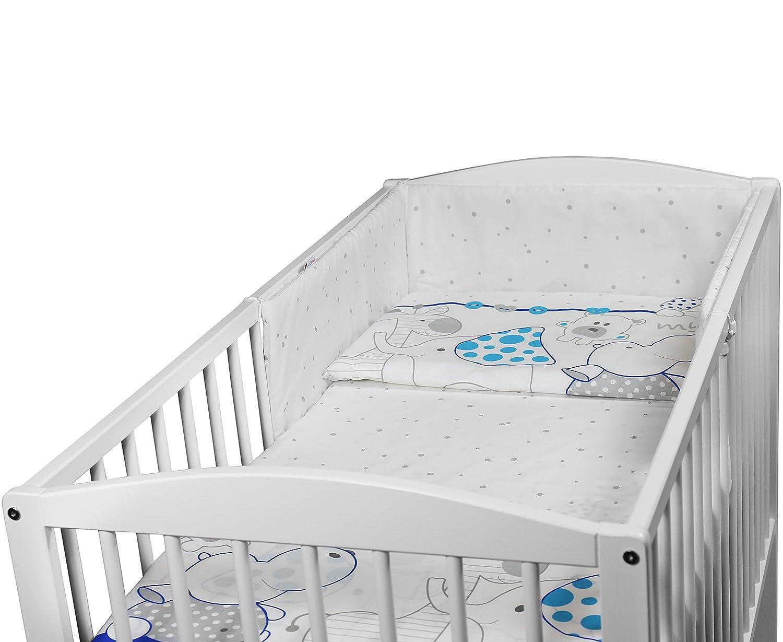 BABY BEDDING SET 3PCS COT BED SIZE PILLOW DUVET COVER BUMPER 140x70CM DOTS GREY