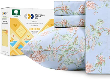 Amazon Com 400 Thread Count 100 Cotton Sheets In Antique Rose Printed Queen Size Set 4 Piece Long Staple Combed Cotton Best Sheets For Bed Breathable Sateen Weave Fits Mattress 16 Deep Pocket Home