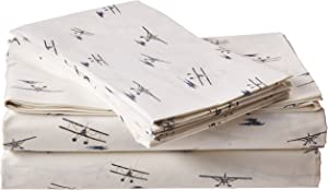 Eddie Bauer Home   Percale Collection Sheet Set-100% Cotton, Crisp & Cool, Lightweight & Moisture-Wicking Bedding, King, Sea Planes