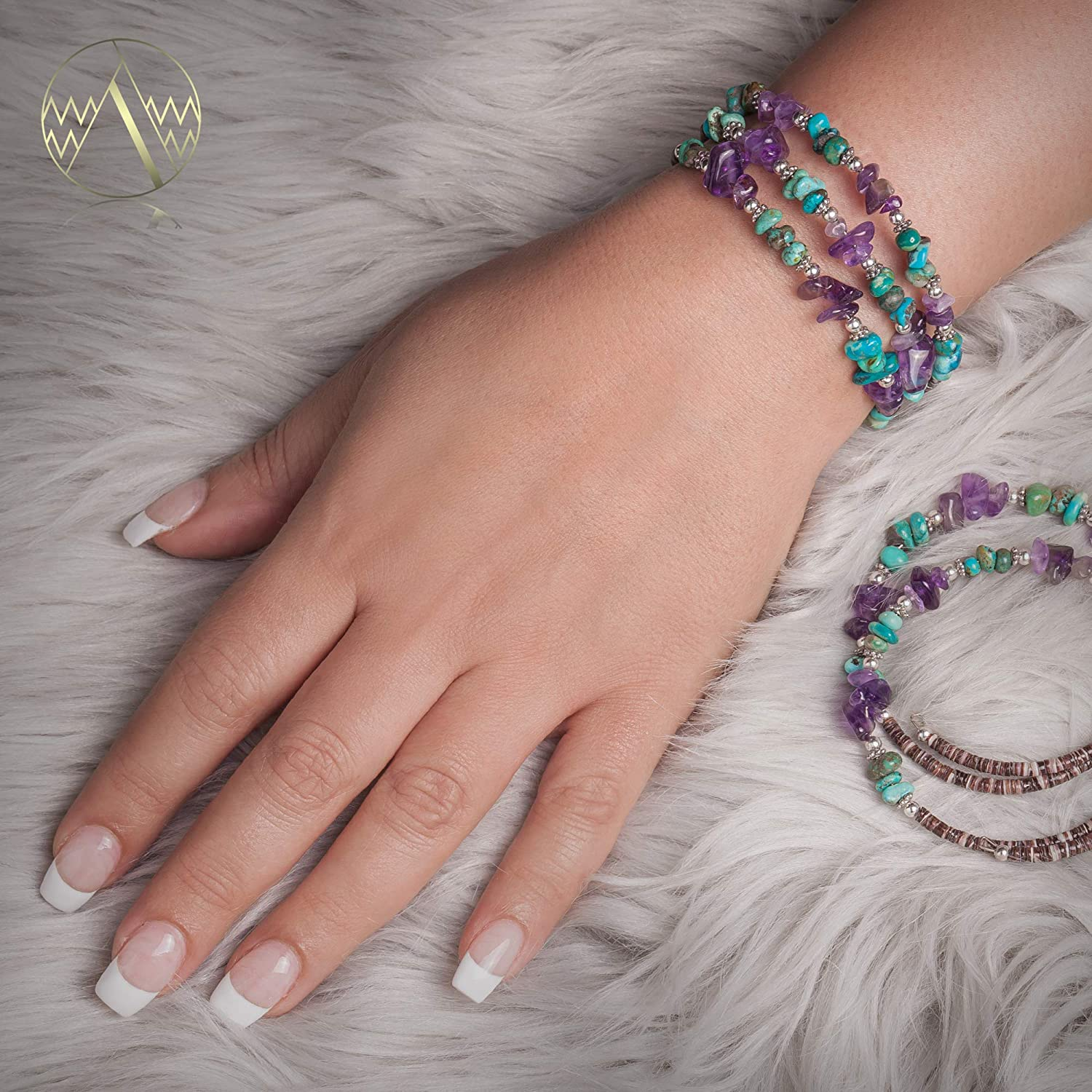 80Tag Certified Navajo Native Turquoise Amethyst Adjustable Wrap Bracelet 12739-1 Made by Loma Siiva