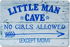 HOMANGA Funny Little Man Cave Metal Tin Sign, Decorative Wall Decor for Boys Room, Little Man Cave No Girls Allowed Bedroom Door Sign, for Son 12x8 Inch Blue