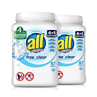 all Mighty Pacs Laundry Detergent, Free Clear for Sensitive Skin, 67 Count, 2 Tubs...