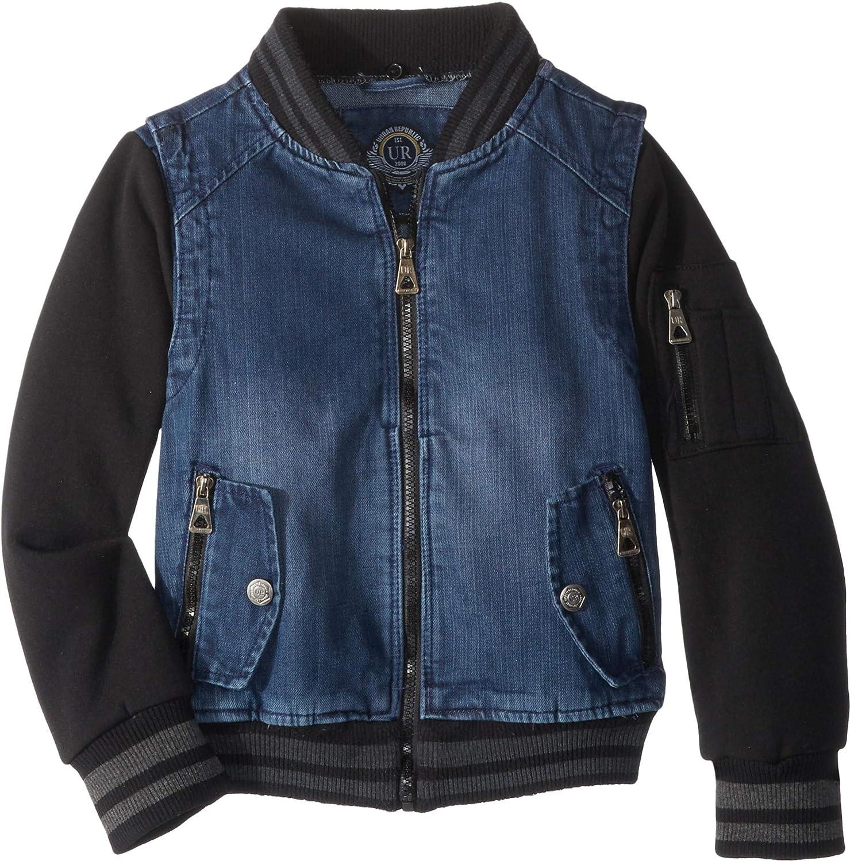 Urban Republic Kids Mens Aaron Cotton Denim Bomber Jacket Little Kids//Big Kids