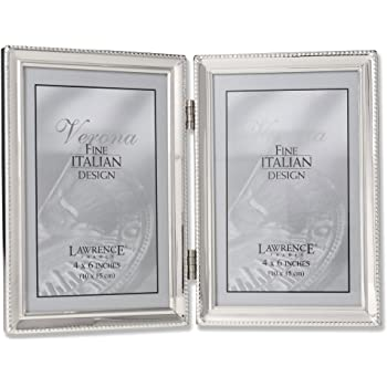 lawrence frames polished silver plate 4x6 hinged double picture frame bead border. Black Bedroom Furniture Sets. Home Design Ideas