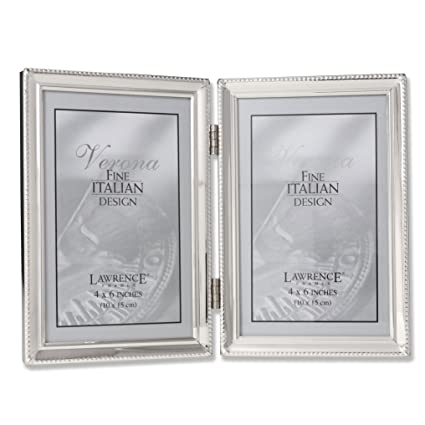 Amazon.com - Lawrence Frames Polished Silver Plate 4x6 Hinged Double ...