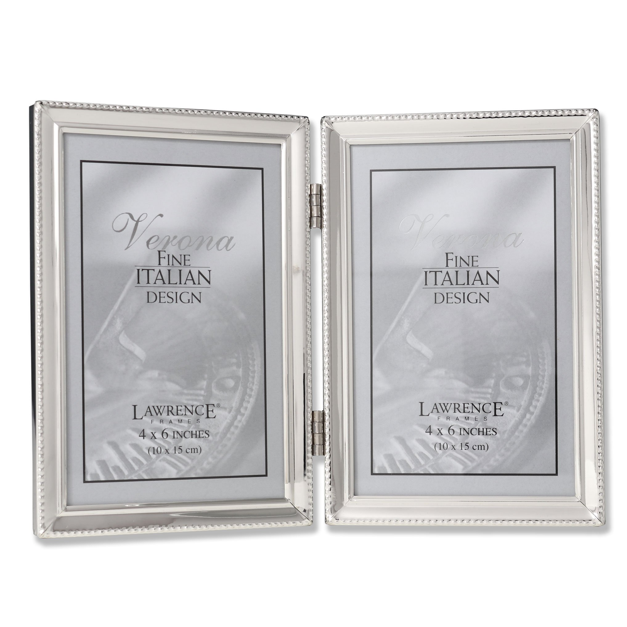 Lawrence Frames Polished Silver Plate 4x6 Hinged Double Picture Frame - Bead Border Design