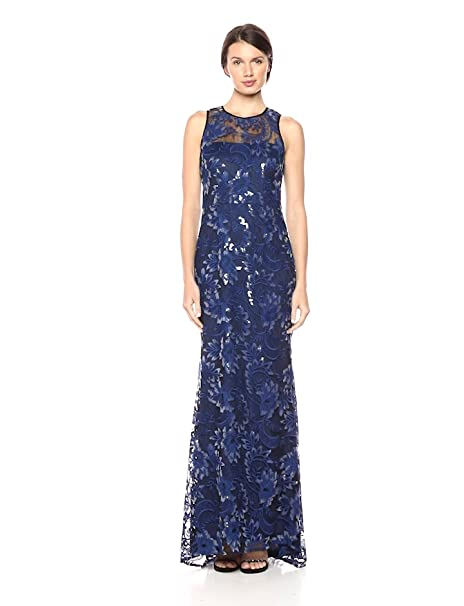 01083e1d Carmen Marc Valvo Infusion Women's Threadwork Embroidered Gown at ...