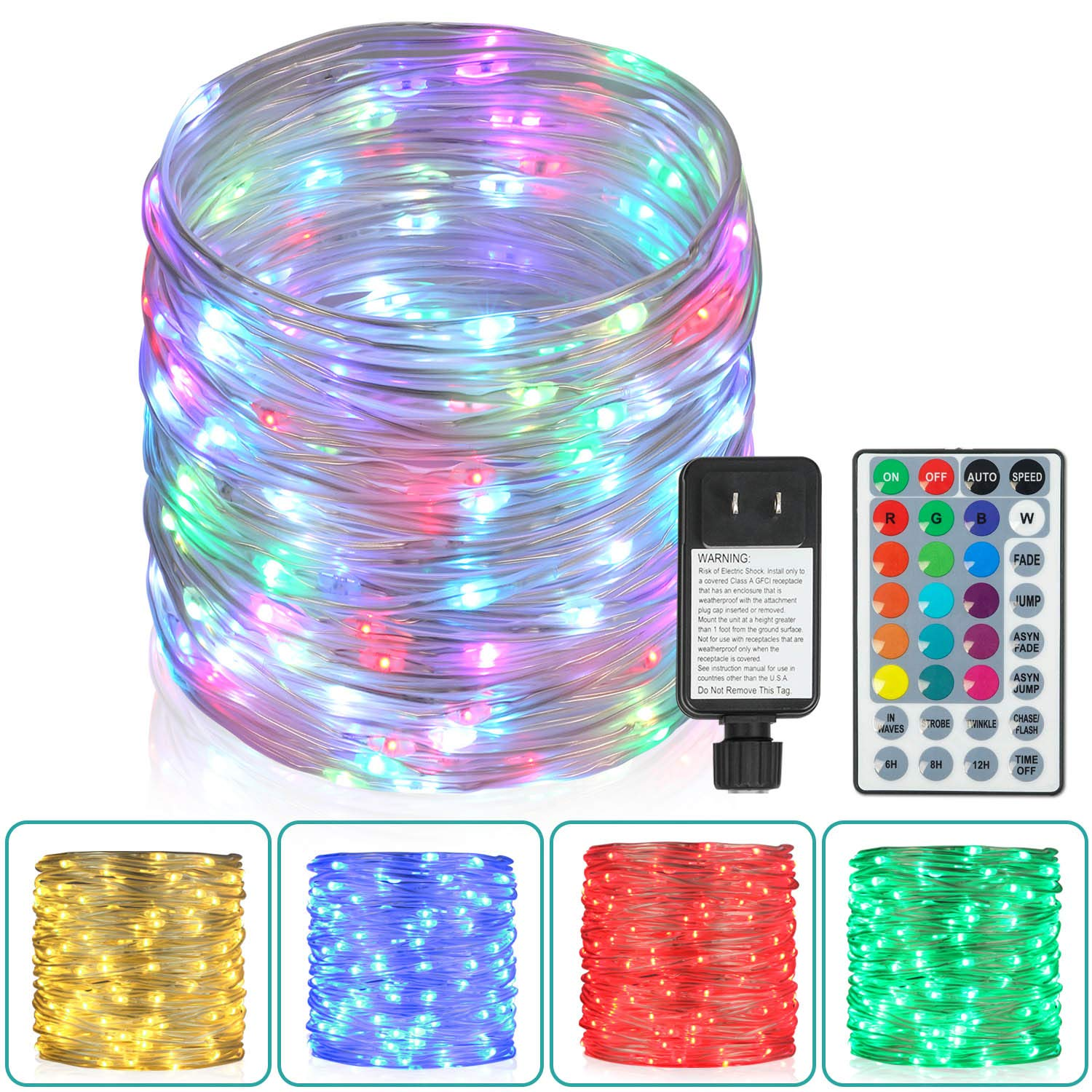 80Ft Outdoor Rope Lights, 240 LEDs Color Changing Lights with Remote, Waterproof String Lights Plug-in Fairy Lights Twinkle Lights for Outdoor, Wedding, Patio, Garden, Home Decor,16 Colors Option by Homestarry