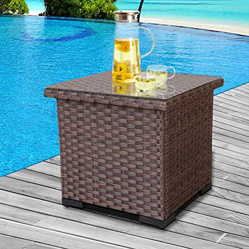 Outdoor PE Wicker Side Table Patio Tea Table