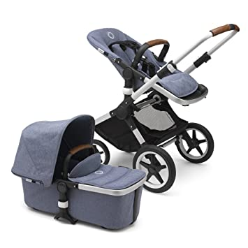Bugaboo Fox Complete Full Size Stroller Blue Melange Fully Loaded Foldable Stroller With Advanced