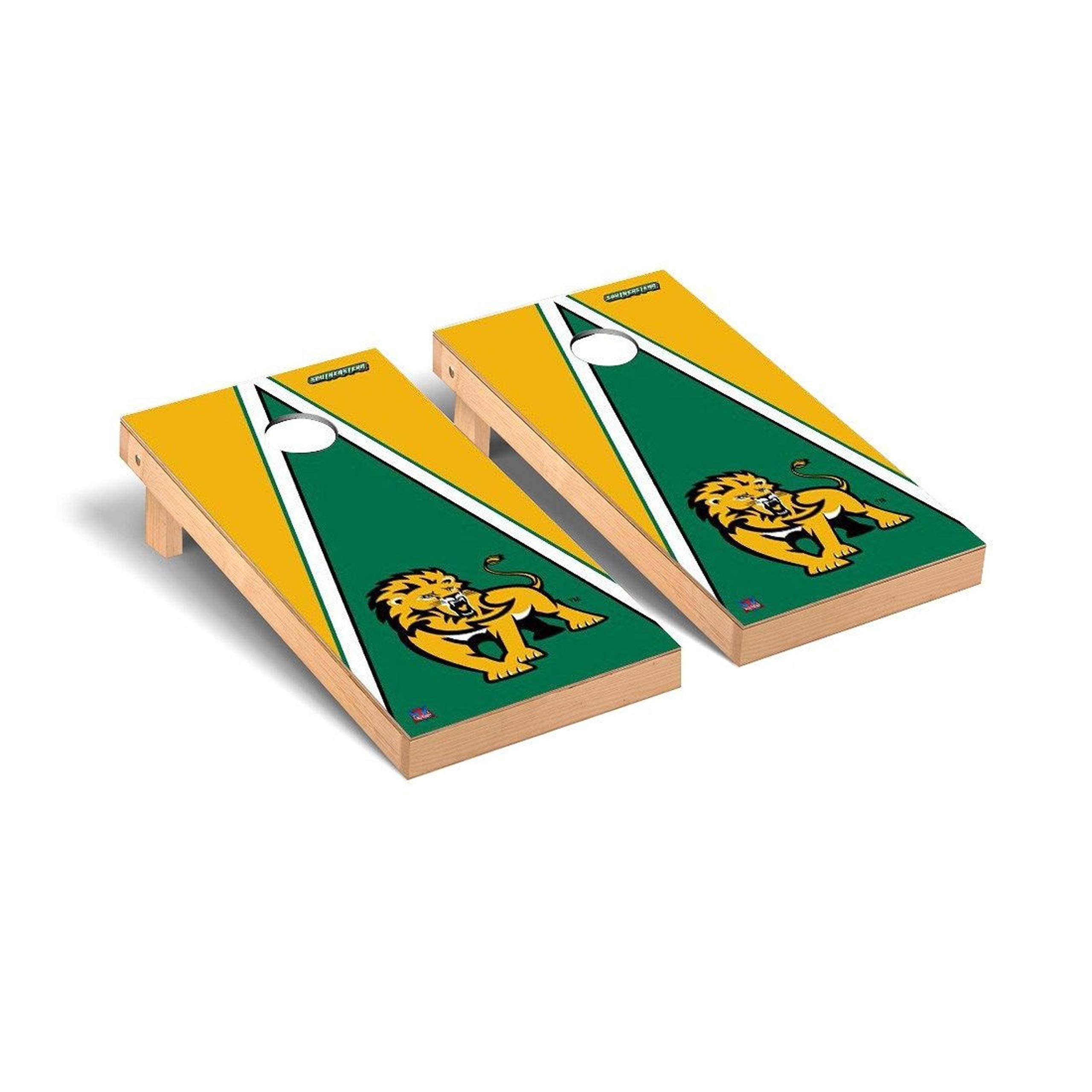 Victory Tailgate Regulation Collegiate NCAA Triangle Series Cornhole Board Set - 2 Boards, 8 Bags - Southeastern Louisiana SLU Lions by Victory Tailgate