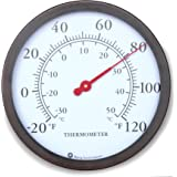 "12"" Steel Enclosure Decorative Indoor / Outdoor Patio Wall Thermometer (Bronze)"